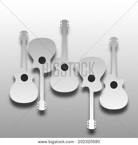 An array of abstract acoustic guitars in light and shadow ideal for music CD cover