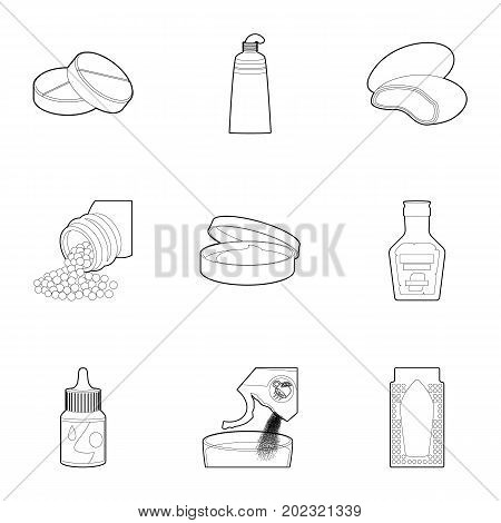 Pharmacy icons set. Outline set of 9 pharmacy vector icons for web isolated on white background