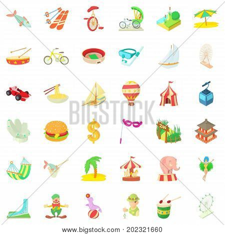 Tour icons set. Cartoon style of 36 tour vector icons for web isolated on white background