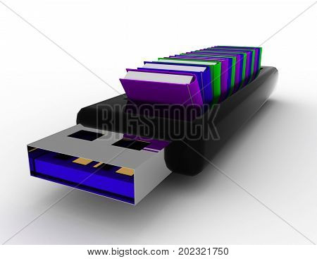 usb flash drive and books . 3d rendered illustration