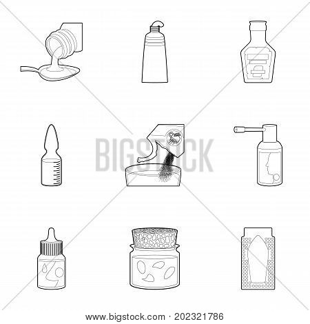 Pharmacy product icons set. Outline set of 9 pharmacy product vector icons for web isolated on white background