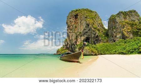 Long tail boat at Ton Sai beach in Krabi Thailand
