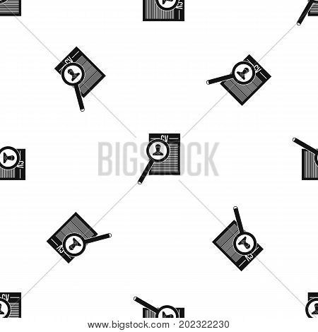 Magnifying glass over curriculum vita pattern repeat seamless in black color for any design. Vector geometric illustration