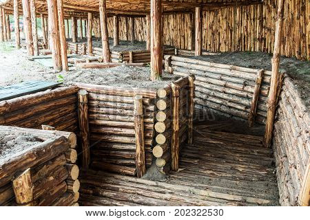 large dugout and the trenches from a tree at a military training ground