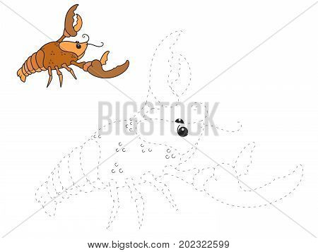 Connect the dots game astacus raster illustration