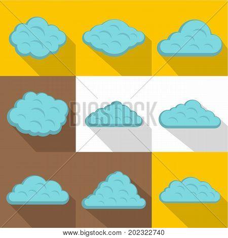 Storm cloud icon set. Flat style set of 9 storm cloud vector icons for web design