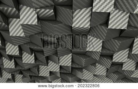 carbon fiber 3d image poly geometric background texture rendering