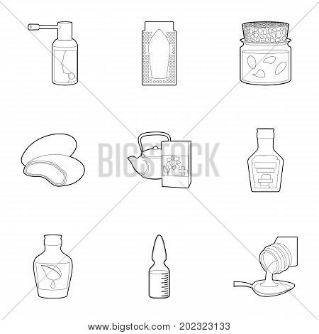 Pills and drug icons set. Outline set of 9 pills and drug vector icons for web isolated on white background