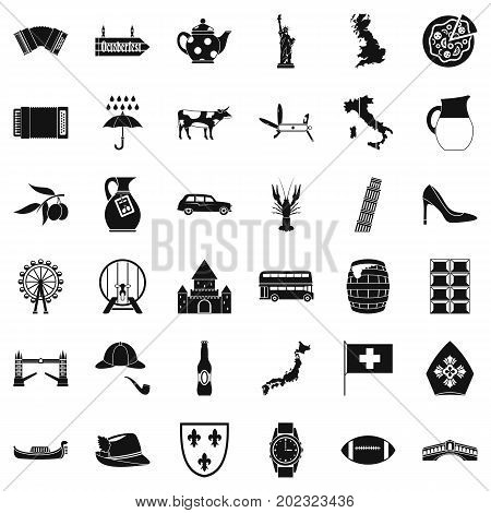 Tourist attraction icons set. Simple style of 36 tourist attraction vector icons for web isolated on white background
