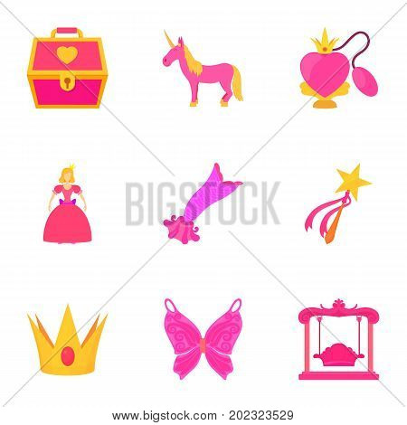 Little princess kit icons set. Cartoon set of 9 little princess kit vector icons for web isolated on white background