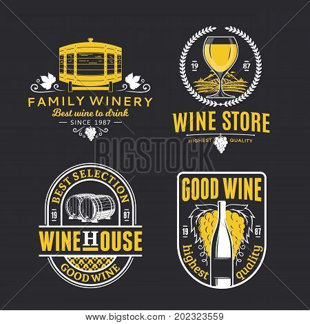 Vector Vintage Wine Logo, Icons And Design Elements