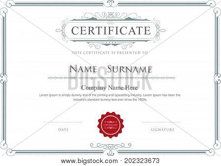 Certificate border vector elegant flourishes template design