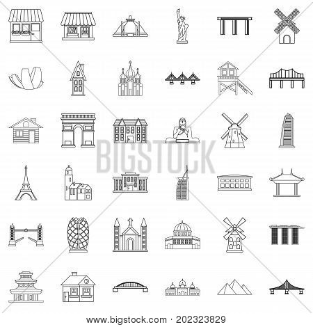 Tourist attraction icons set. Outline style of 36 tourist attraction vector icons for web isolated on white background