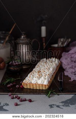Cranberry Meringue Tart