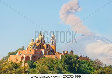 Church Of Our Lady Of Remedies With Popocatepetl Volcano , Mexico