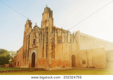 Church and Convent of San Miguel in Mani in the central region of the Yucatan Peninsula in  Mexico