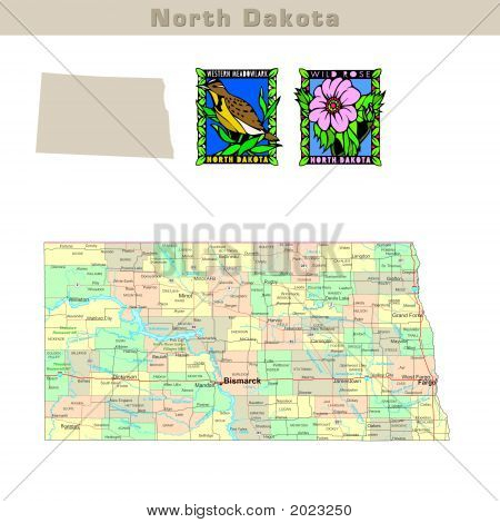 USA states series: North Dakota. Political map with counties roads state's contour bird and flower poster