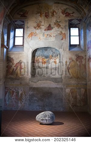 Brescia, Italy, 11 August 2017, Old Sculpture In Museum Of The Roman Ruins And Santa Giulia