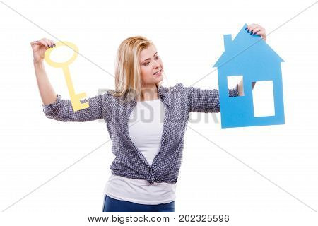 Woman Holding Paper House Model And Key.
