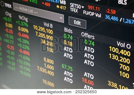 stock market chart show ATO order or buy or sell at the market open background. stock trading and finance investment concept.