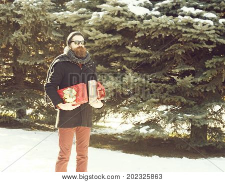 Handsome bearded man hipster with beard and moustache in black sunglasses hat coat and scarf with gift boxes as presents on winter day outdoors on natural background