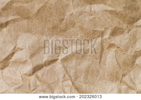 Abstract brown recycle crumpled paper for background : crease of brown paper for design decorative.