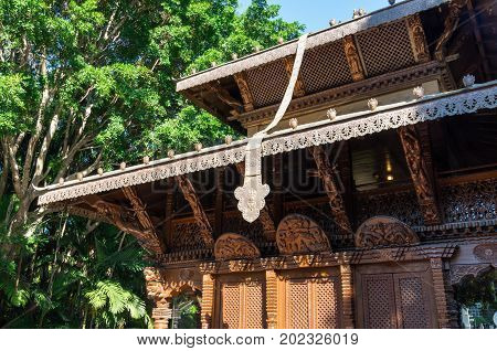 Brisbane, Australia - July 9, 2017: Nepalese Peace Pagoda in the South Bank parklands. The pagoda was erected for the World Expo 88.
