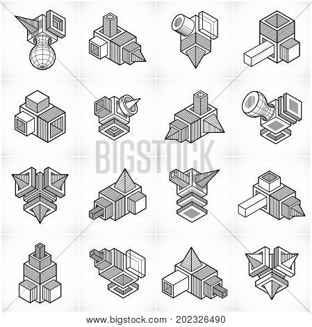 Vector abstract 3d shapes collection, trigonometric figures