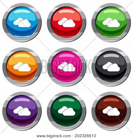 Clouds set icon isolated on white. 9 icon collection vector illustration