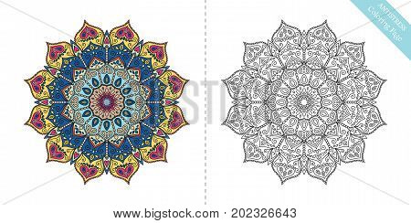 Antistress Coloring Page for adults. Flower mandala for relaxation, meditation, painting, yoga logo. Decorative round ornament. Vector floral pattern. Rich texture. Intricate oriental design element.