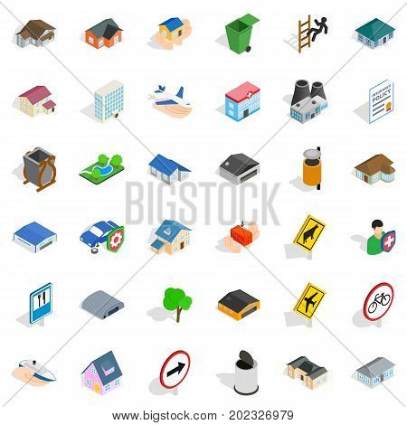Street icons set. Isometric style of 36 street vector icons for web isolated on white background