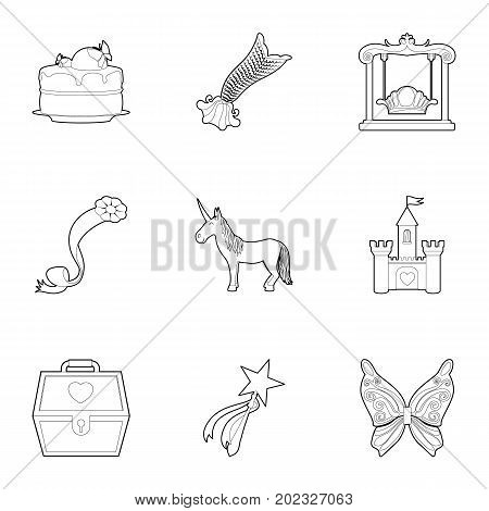 Little princess kit icons set. Outline set of 9 little princess kit vector icons for web isolated on white background