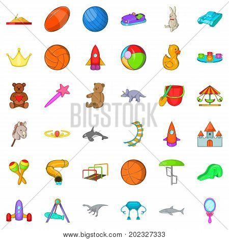 Playground icons set. Cartoon style of 36 playground vector icons for web isolated on white background