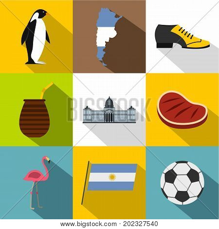 Argentina icon set. Flat style set of 9 Argentina vector icons for web design