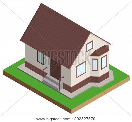 Private house mansion isometric projection. Isolated on white vector illustration