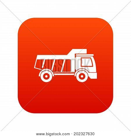 Toy truck icon digital red for any design isolated on white vector illustration