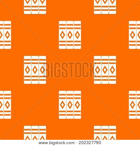 Three literary books pattern repeat seamless in orange color for any design. Vector geometric illustration