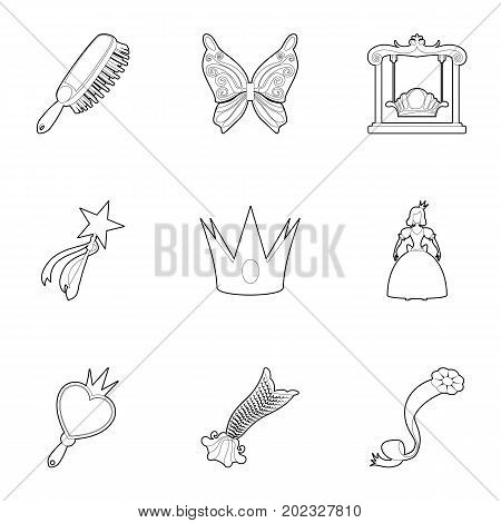 Little fairy equipment icons set. Outline set of 9 little fairy equipment vector icons for web isolated on white background
