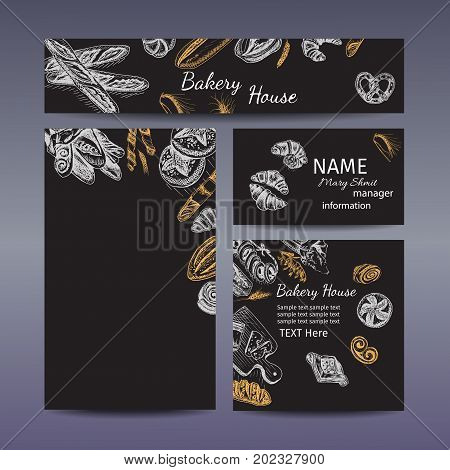 Corporate style - bakery. Vector background sketch - loaf, baguette, bread, croissant, buns, puffs