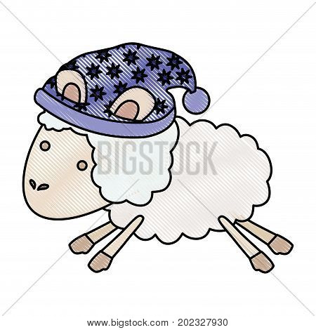 sheep animal with sleeping cap jumping in color crayon silhouette on white background vector illustration