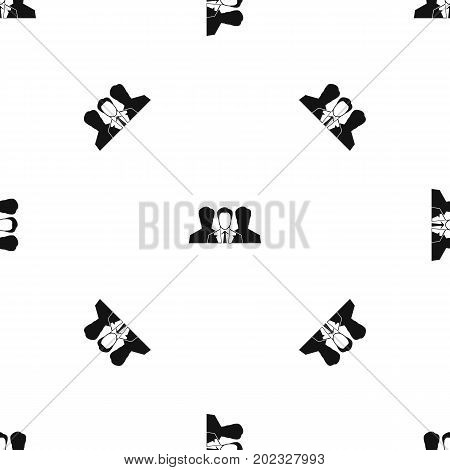 Recruitment pattern repeat seamless in black color for any design. Vector geometric illustration