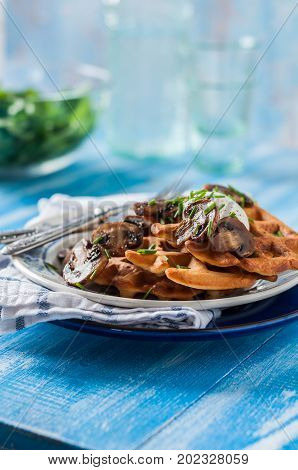 Potato Waffles With Mushrooms