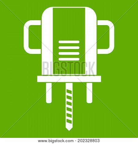 Boer drill icon white isolated on green background. Vector illustration