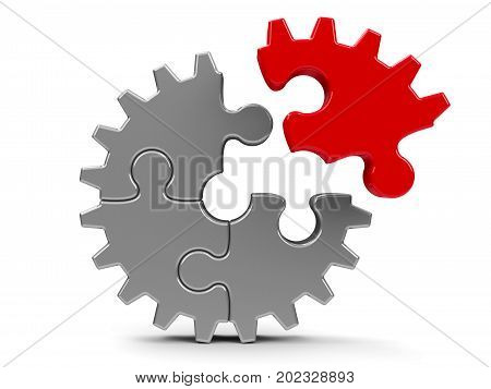 Metal puzzle gears isolated on a white background - team cooperation concept three-dimensional rendering 3D illustration