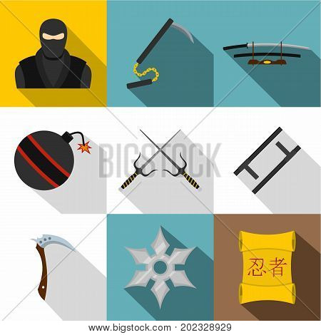 Japanese weapon icon set. Flat style set of 9 japanese weapon vector icons for web design