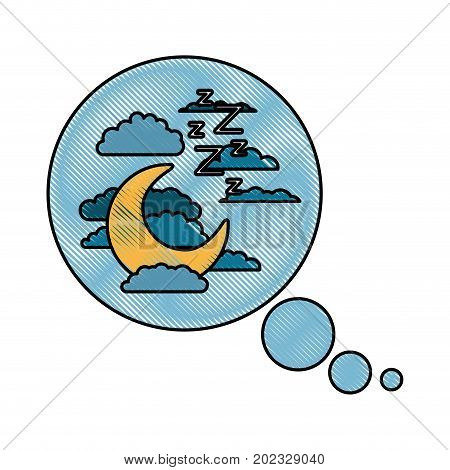 bubble call out with night landscape and snoring sign in color crayon silhouette on white background vector illustration