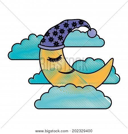 moon half caricature with sleeping cap into the clouds in color crayon silhouette on white background vector illustration