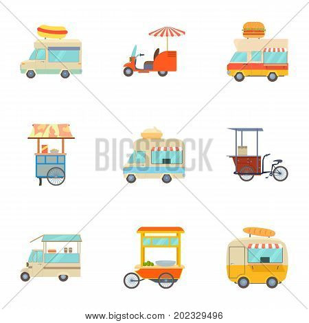 Street food truck icons set. Cartoon set of 9 street food truck vector icons for web isolated on white background