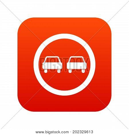 No overtaking road traffic sign icon digital red for any design isolated on white vector illustration