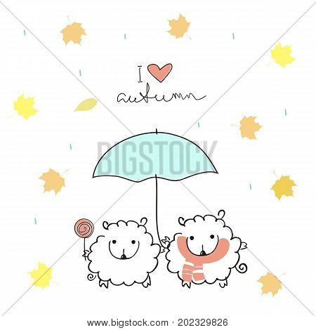 Two cute sheep under an umbrella with a handwritten inscription
